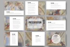 Set of 9 templates for presentation slides. Catholic church inside. Abstract Stock Illustration