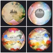 Set of 4 music album cover templates. Abstract backgrounds. Geometrical patterns - stock illustration