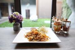 Thai food padthai fried noodle with shrimp Stock Photos