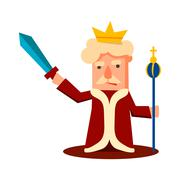 King Cartoon Emotion Vector Illustration Set Stock Illustration