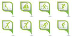 Set of 8 sport GREE Npointer - stock illustration