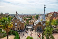 Architecture in the Parc Guell, Barcelona, Spain Stock Photos