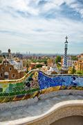 Parc Guell, Barcelona, Spain by Antoni Gaudi - stock photo