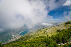 Aerial view on Boka Kotor bay from the Lovcen mountains Stock Photos