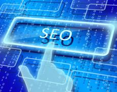 abstract background and the words seo in rectangle - stock illustration
