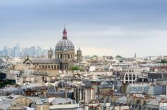 Saint-Augustin Church with La Defense in The Background - stock photo