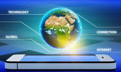 Planet earth with the continent of Africa on a mobile phone - stock illustration