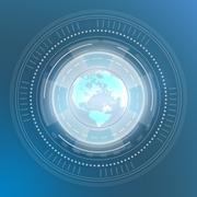 Stock Illustration of Icon Globe World Map. Digital generation of circles on a blue background
