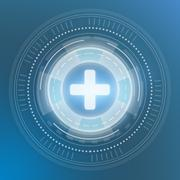 Icon medical plus. Digital generation of circles on a blue background Stock Illustration