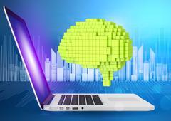 Digital generation of green voxel brain with laptop Stock Illustration
