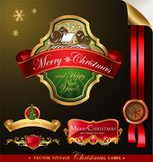 Christmas label with lovely winter landscape - stock illustration