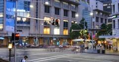 Sydney Australia establishing shot city street traffic and people time lapse Stock Footage