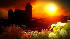Beautiful landscape with flowers Stock Illustration