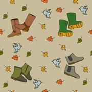 Handdrawn autumn seamless pattern - stock illustration