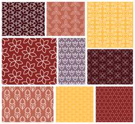 Geometric patterns  Set of vector seamless abstract vintage backgrounds - stock illustration