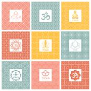 Vector yoga icons and line badges, graphic design elements or logo templates - stock illustration