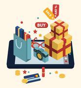 Isometric illustration of online shopping - stock illustration