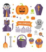 Halloween symbols collection - stock illustration