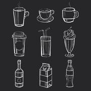Set of different hand drawn beverages on the blackboard. Vector illustration - stock illustration