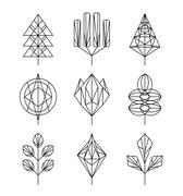 Graphical tree set, hipster linear style Stock Illustration