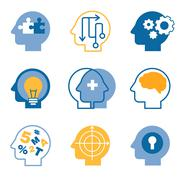 Stock Illustration of Head brain vector icons