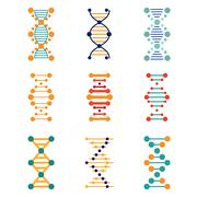 DNA, genetics vector icons - stock illustration