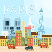 Welcome to France. Attractions of Paris, the Eiffel Tower landscape, balloon - stock illustration