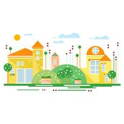 Green landscape with city trees the road flowers, beautiful houses and clouds - stock illustration