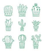 Set of vector cactus icons - stock illustration