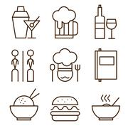 Restaurant icons - stock illustration