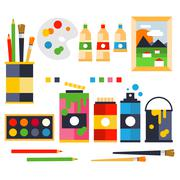 Studio drawing tools to the creative process flat icons set isolated vector - stock illustration