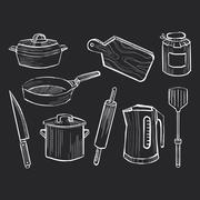 Hand drawn set of kitchen utensils on a chalkboard - stock illustration