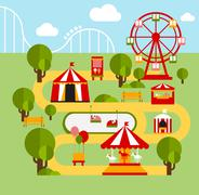 Amusement park infographic elements Stock Illustration