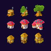 Stock Illustration of Cartoon element of the game fairy houses