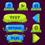 Game Buttons with nature elements Stock Illustration