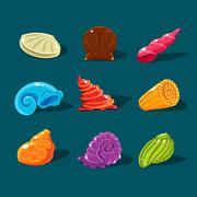 Vector Collection of Colorful Shells - stock illustration