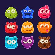 Cute jelly characters with different emotions - stock illustration