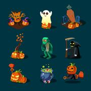 Halloween symbols collection Stock Illustration