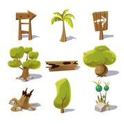 Stock Illustration of Cartoon nature elements, vector objects on white background