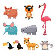 African Animals Fun Cartoon - stock illustration