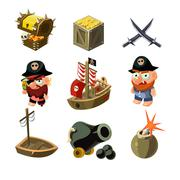 Pirate set. Vector illustration - stock illustration