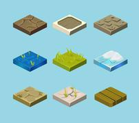 Set of ground surfaces. Grass, rocks and water. Landscape web design. Vector - stock illustration