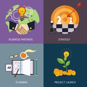 Business banners. business partners, strategy, planning and launch of the Stock Illustration