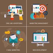 Online advertising, email marketing, web development, marketing management Stock Illustration
