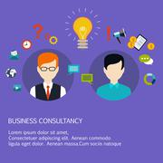 Business advice, coaching, training on business. Flat style vector - stock illustration