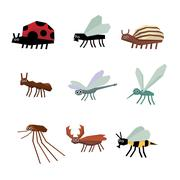 Stock Illustration of Collection of insects cartoon