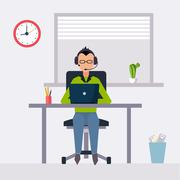 Vector modern flat character design on businessman at work - stock illustration