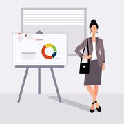 beautiful young business woman presenting with a pointer and board - stock illustration