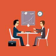 Business people, two men at the table negotiating Flat style - stock illustration