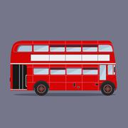Vector. London buses colored silhouette Stock Illustration